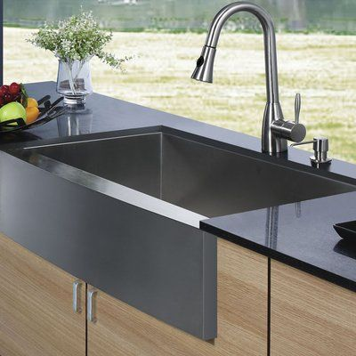 vigo 30 inch farmhouse apron single bowl 16 gauge stainless steel kitchen sink with aylesbury stainless steel faucet grid strainer and soap dispe u2026 vigo 30 inch farmhouse apron single bowl 16 gauge stainless steel      rh   pinterest com
