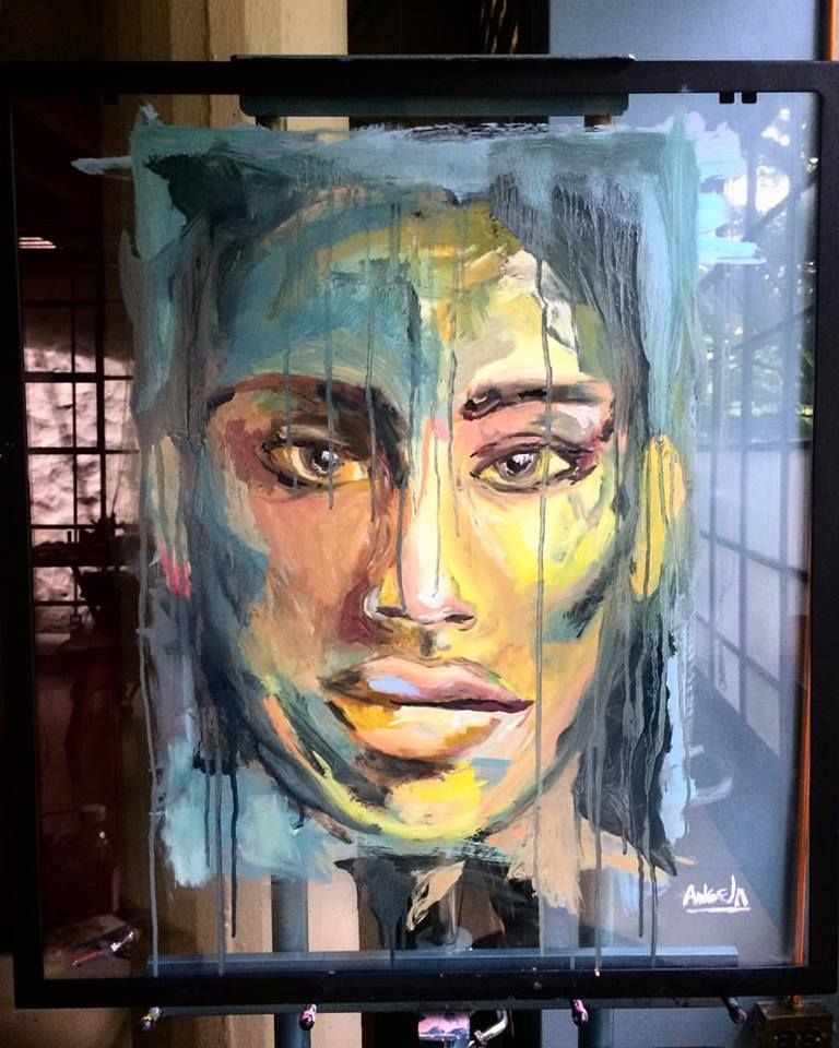 Expressionism painting by @Angela Correa  Oil on glass   #Art #paint #Expressionism #protrait