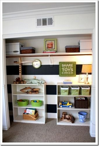 Turn One Of Micah S Closets Into An Open Toy Storage Area I Really Like This