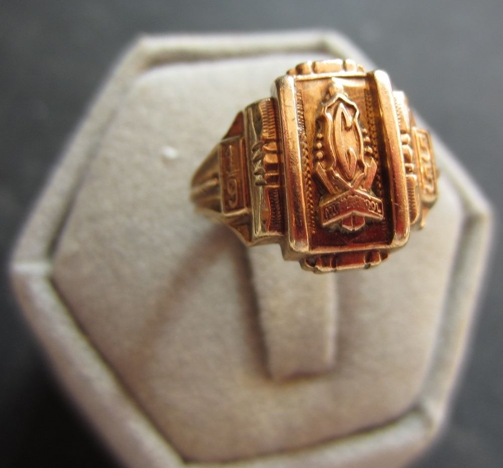 1955 central high school class ring size 5 12 10k yellow