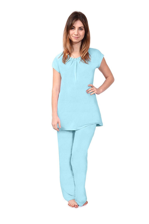 4c69fd93ba98 Short Sleeve Women s Pajamas (Nature s Breeze) Bamboo Pajamas Sleep Set -  Turquoise - C612EZSCH37
