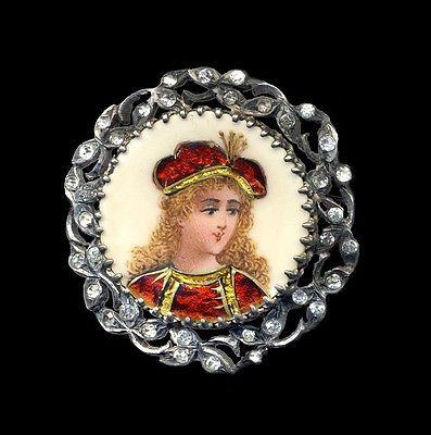 Brooch Fine 1800s French Limoges Foil Enamel Boy in Red on Silver with Paste | eBay