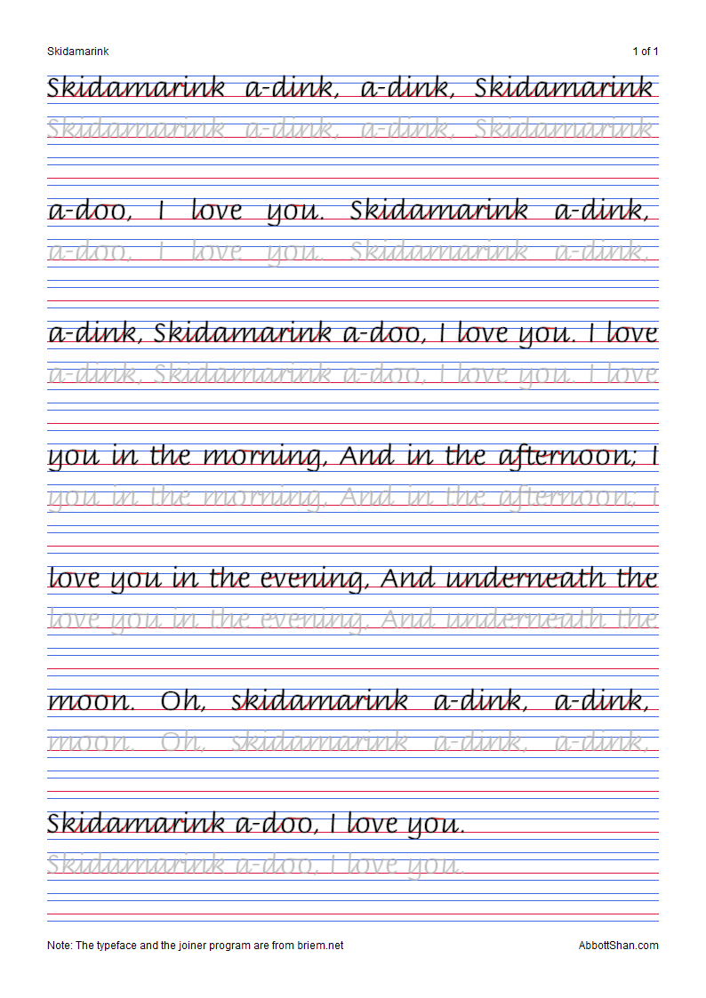 Skidamarink's Italic Handwriting Worksheets [ 1123 x 794 Pixel ]