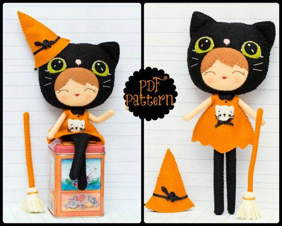 Halloween cat girl. Witch doll (PDF Pattern) | Crafting - Felt ...