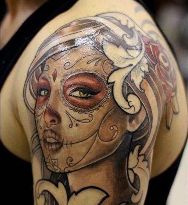 Tatouage Tete De Mort Femme Mexicaine Kolorisse Developpement