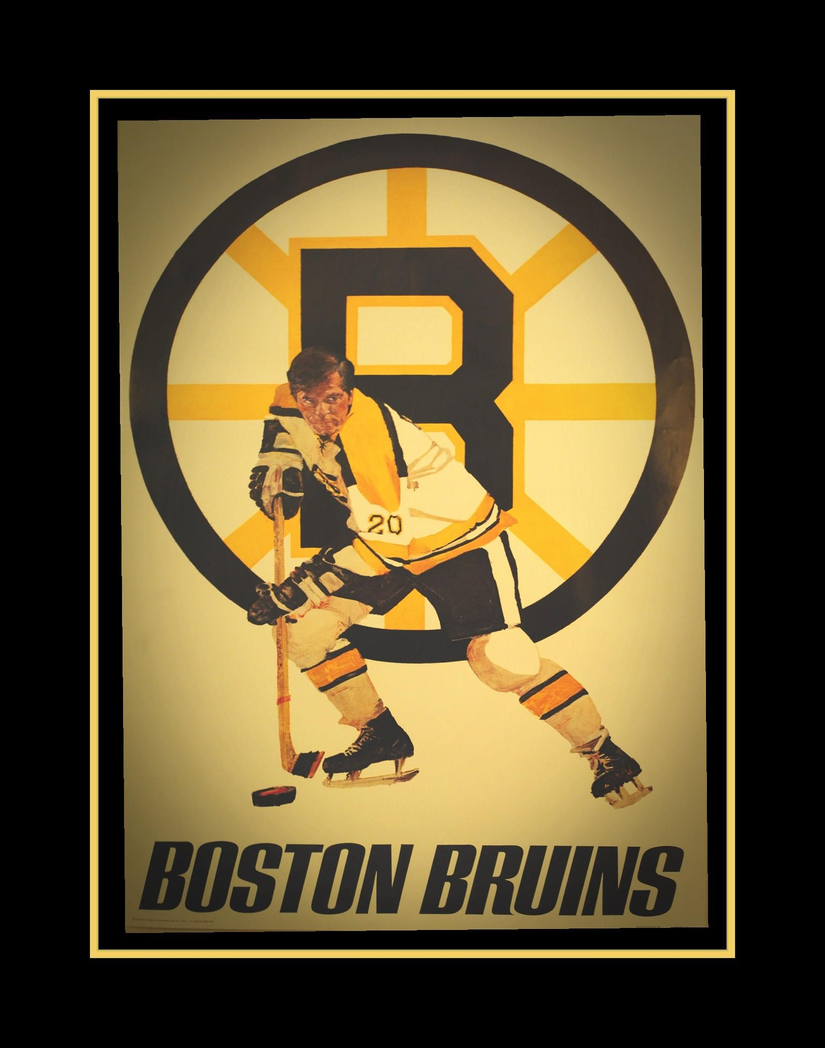 Vintage 1970s Boston Bruins Logo Poster, Gift, Hockey Illustration ...