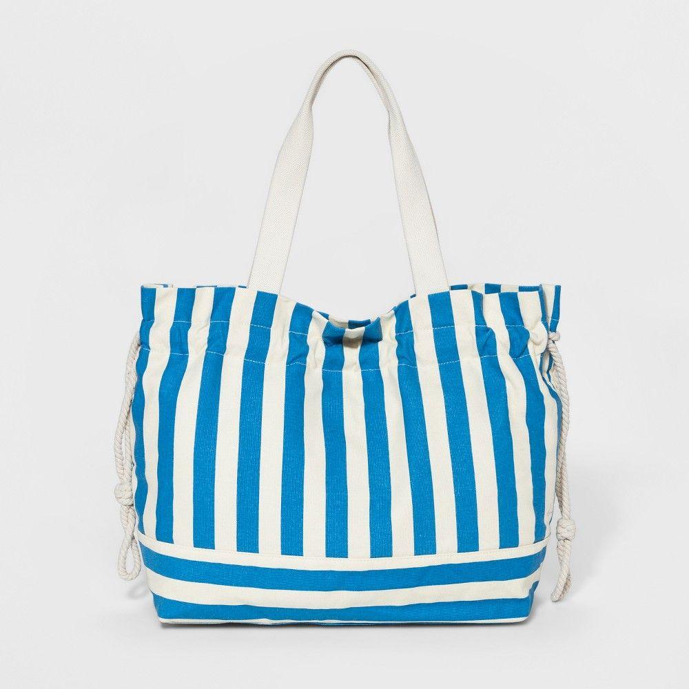 Striped Canvas Drawstring Tote Handbag - A New Day Navy (Blue ... 9cb9e943a3c02