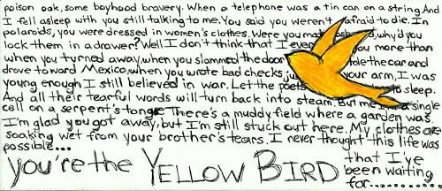 Waiting On A Yellow Bird Want Need Bright Eyes Tattoo Bright Eyes Lyrics Lyrics Tattoo