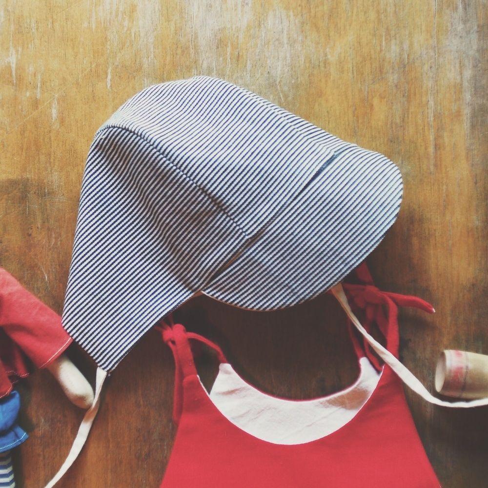 Striped denim baby hat