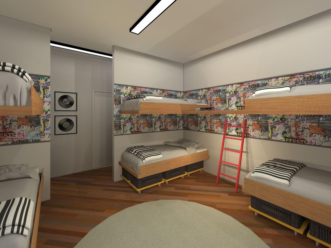 Quarto Quarto Compartilhado Loft Hotel Jovem Colorido  ~ Desenhos Para Quarto De Adolescente
