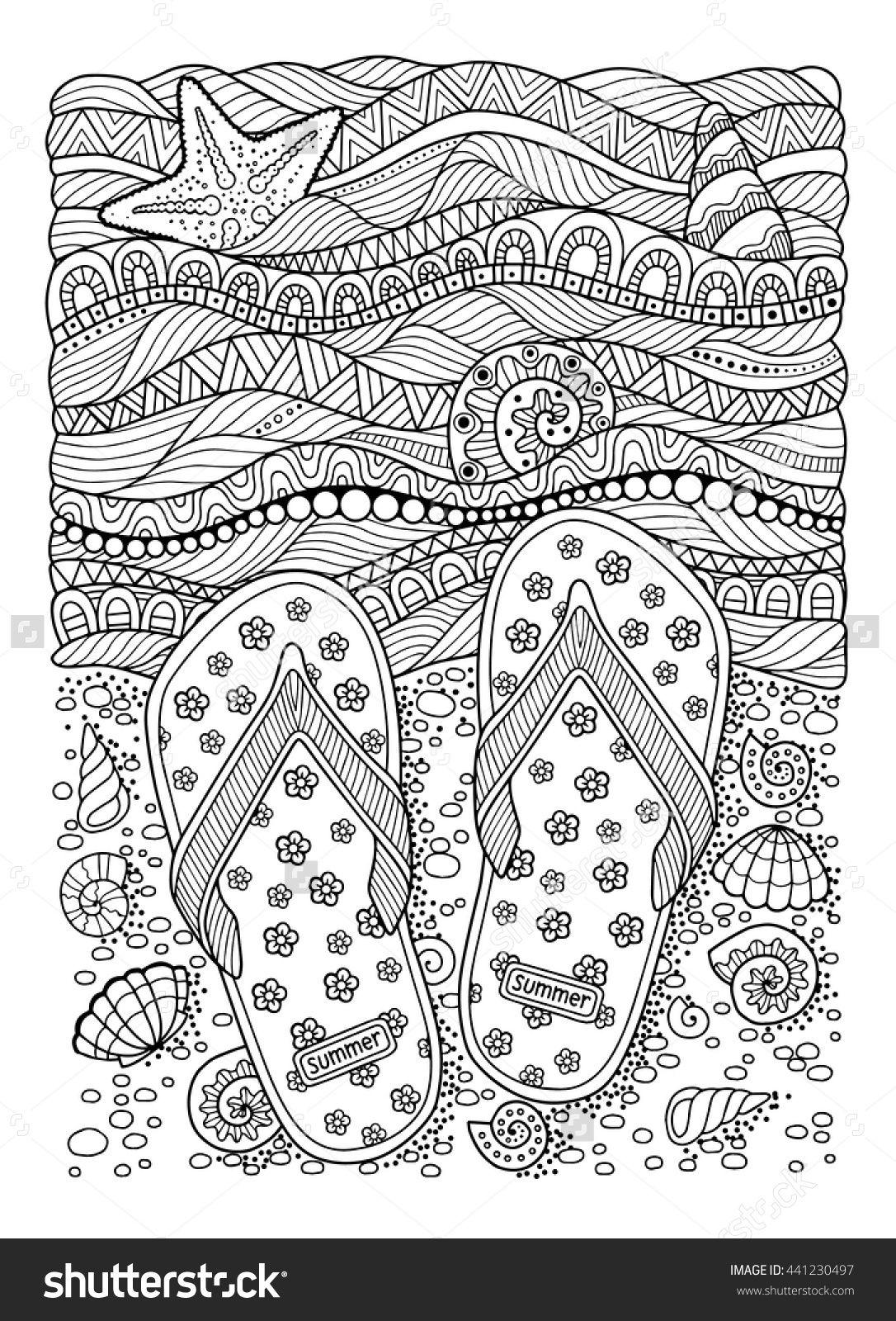 Coloring Book For Adult. Sea Beach. Slippers, Shells, Flip
