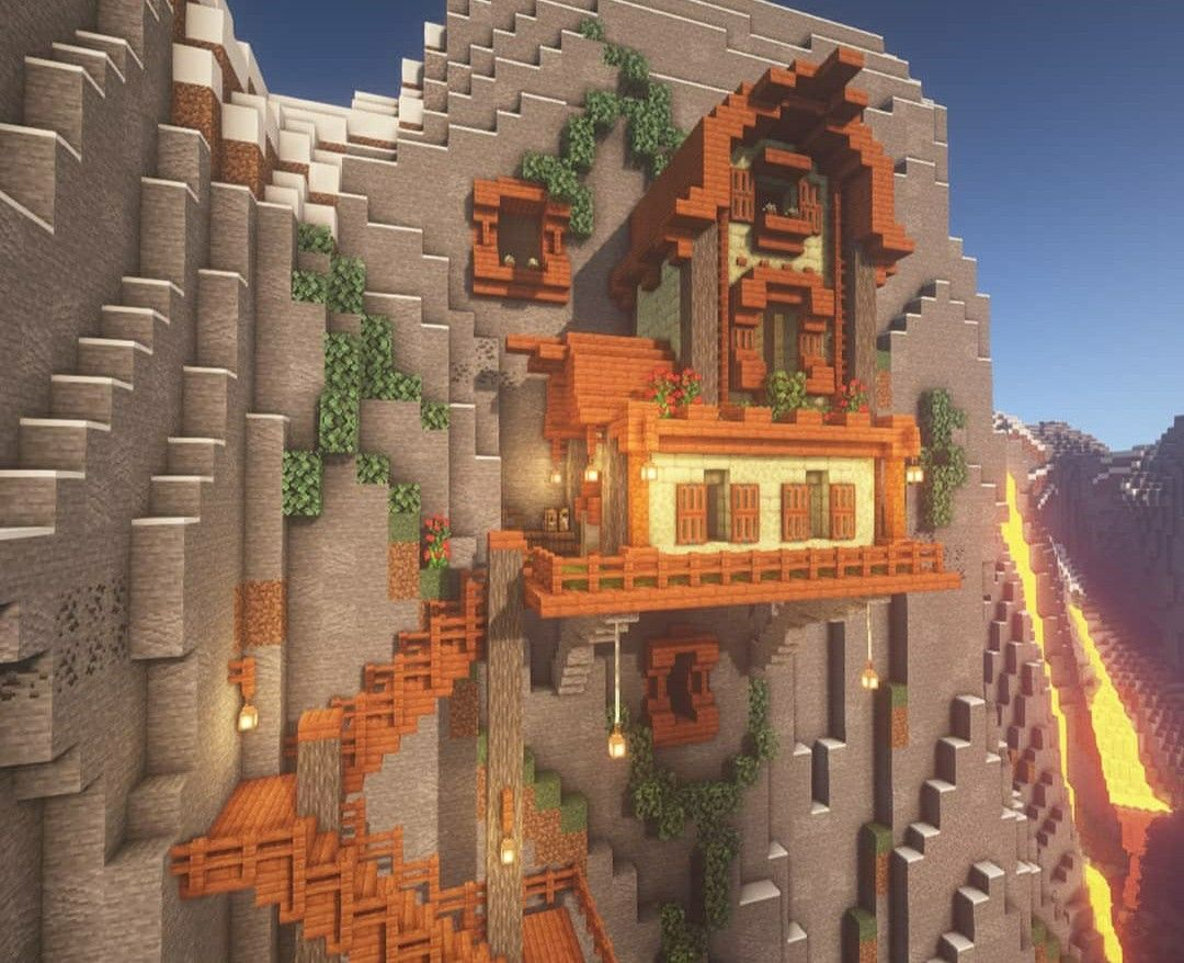 Acacia mountain house in 9  Cool minecraft houses, Minecraft