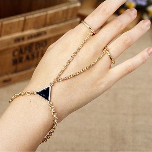 Triangular Decoration Alloy Finger Bracelet