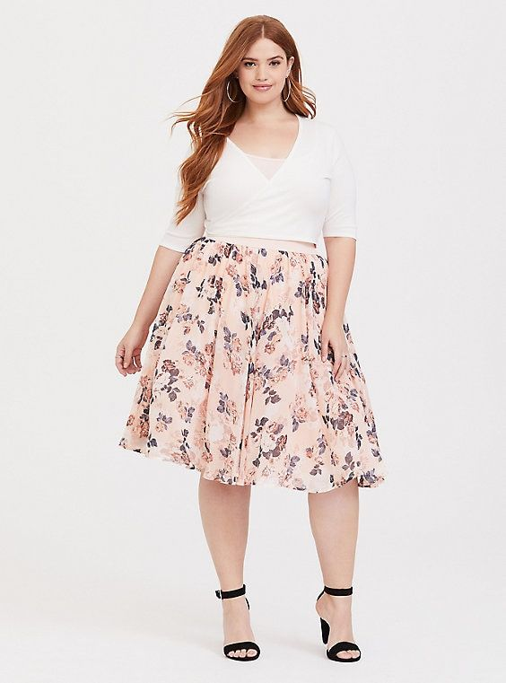 bc322fcb6 Blush Floral Chiffon Skater Midi Skirt in 2019 | Products | Floral ...