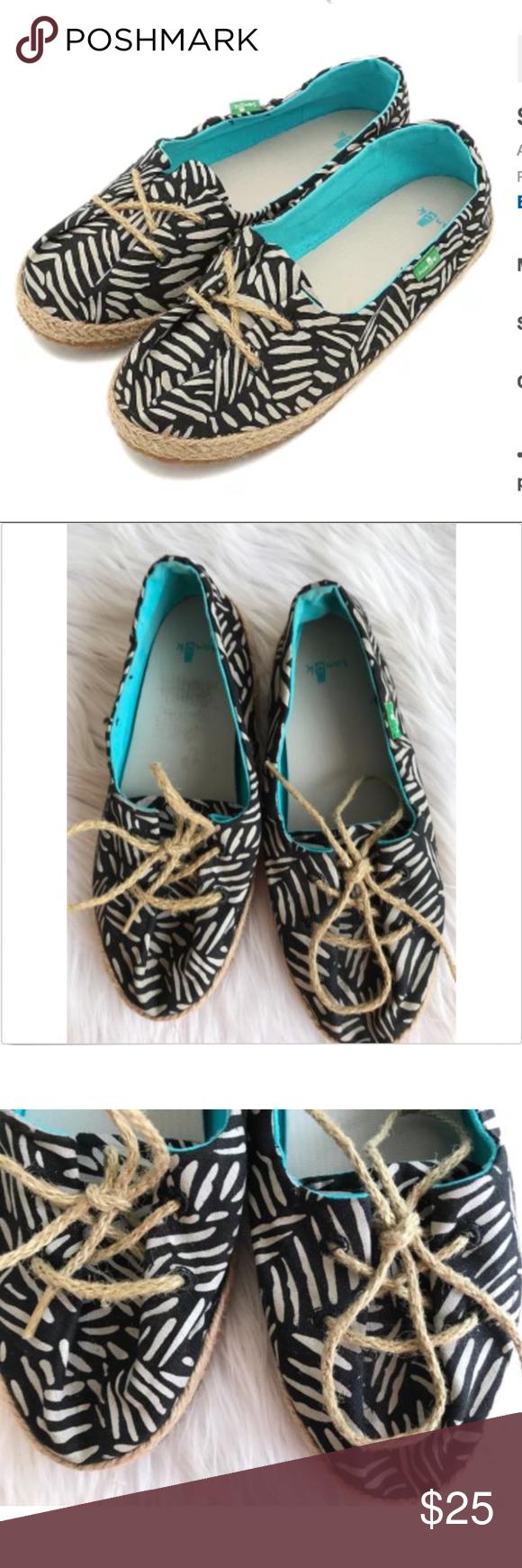 f7c29845937 Sanuk Womens Shoes Mochi Jute Lace-up Sanuk Womens Shoes Mochi Lace-up Jute  Tie Colors  Natural Black Size 6 Great clean condition - no box Measures  9  1 2
