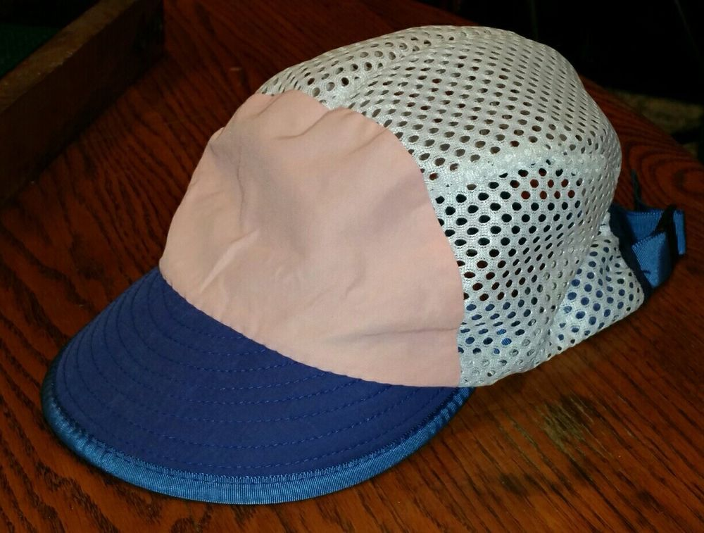 188381db37bb6 Vintage 90s Patagonia Adjustable Mesh Hat Cap White Blue Pink Duck Bill  Panel  Patagonia