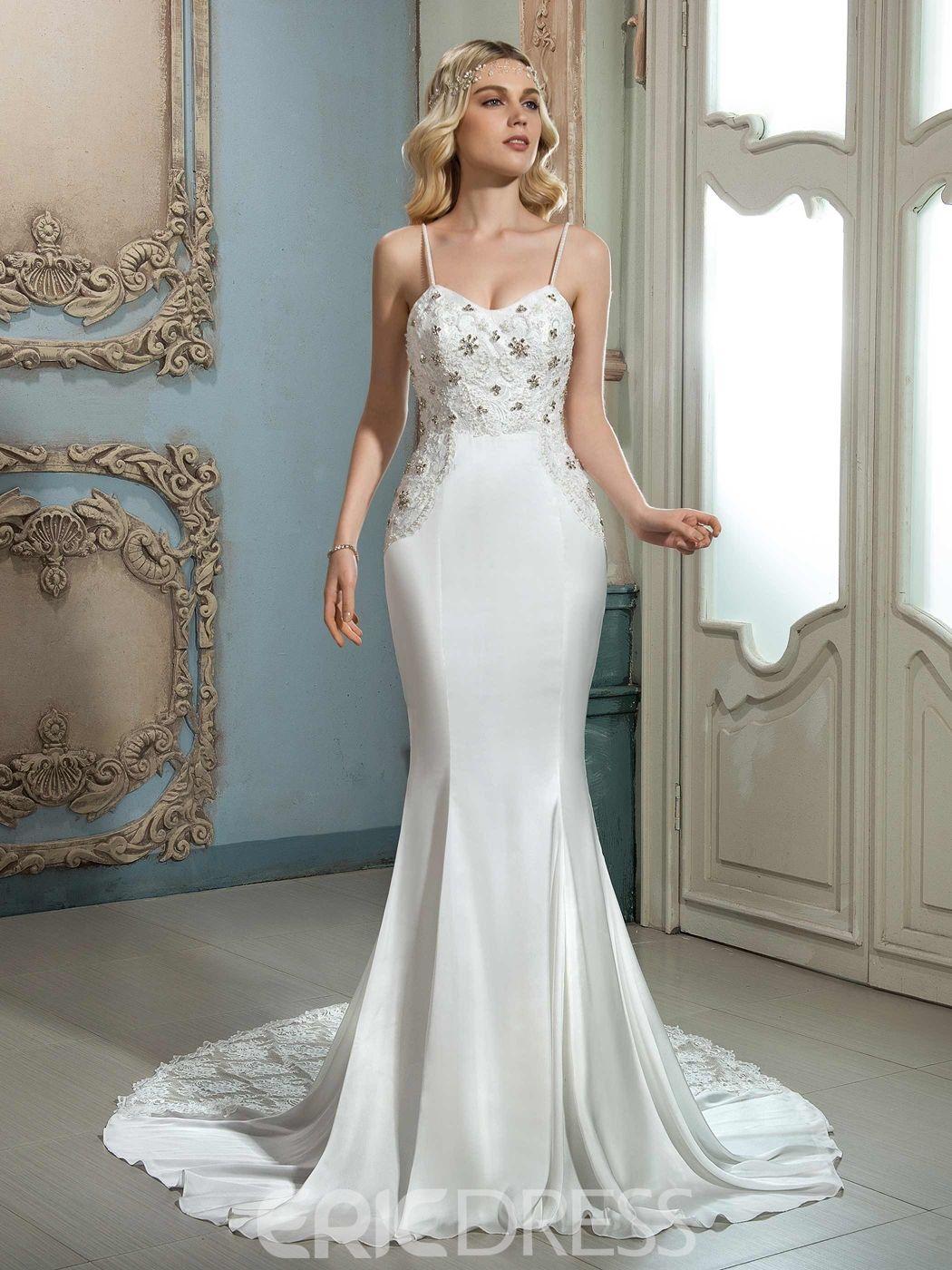 Amazing Spaghetti Straps Hollow Mermaid Wedding Dress