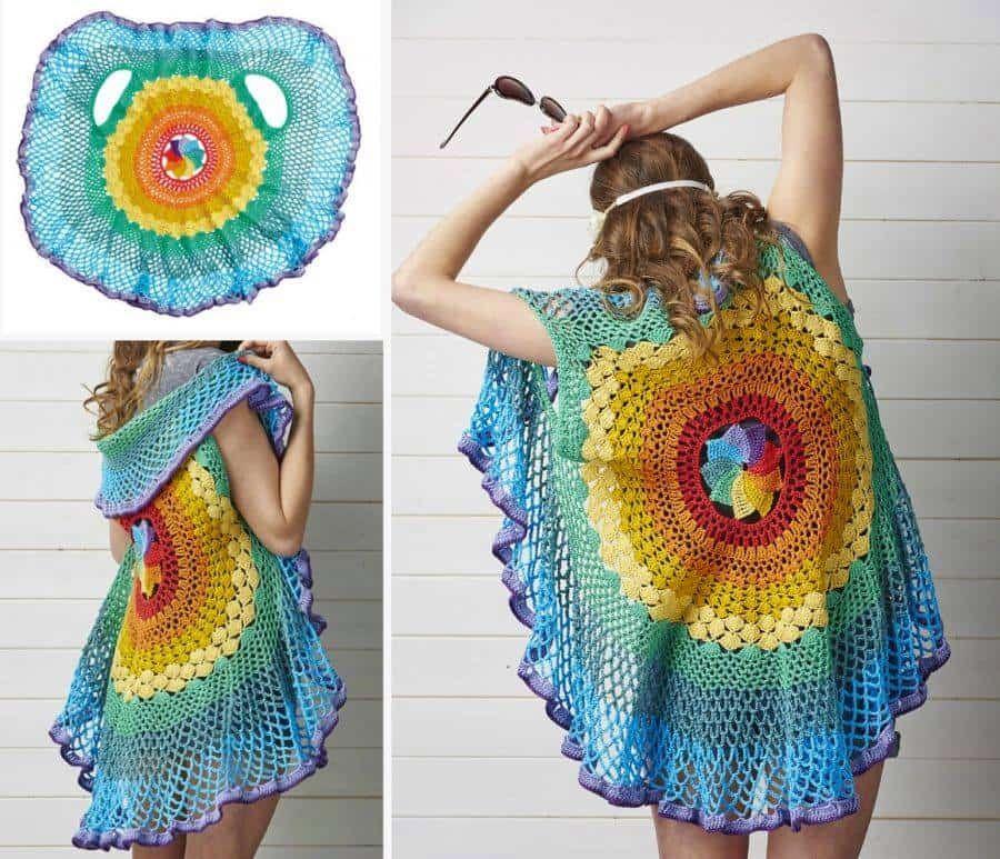 Rainbow Mandala Vest Pattern Crochet Circle Vest Crochet