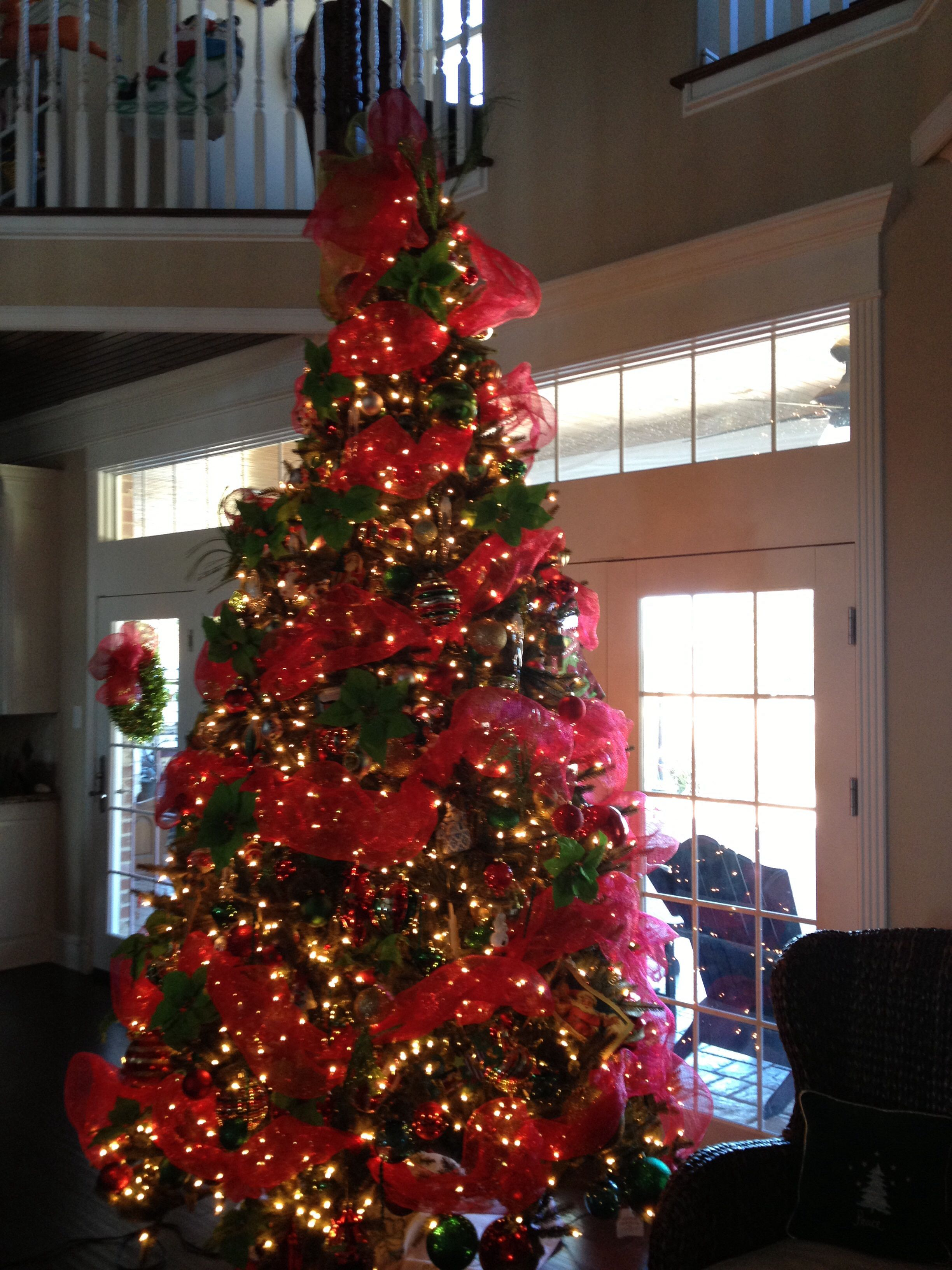Christmas tree with red mesh Christmas Pinterest