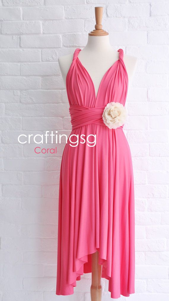 Bridesmaid Dress Infinity Dress Coral Pink Knee by craftingsg, $35.00