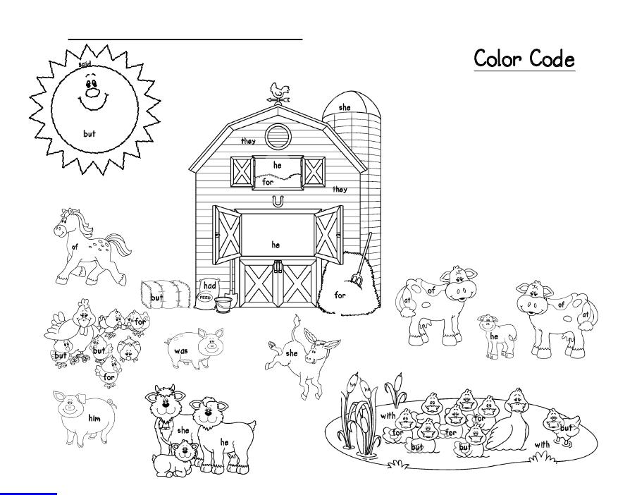 sight words on the farm Sight words kindergarten, Sight