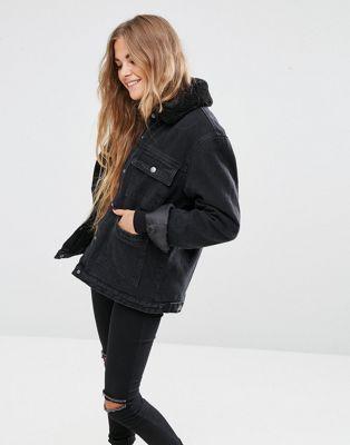 Veste en jean noir femme avec fourrure