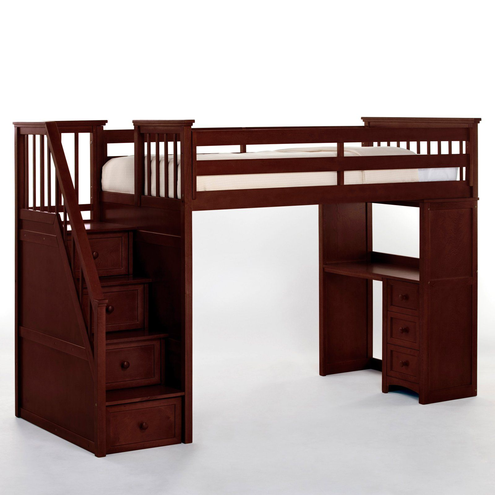 Schoolhouse Stairway Loft Bed With Desk Cherry Loft Beds At