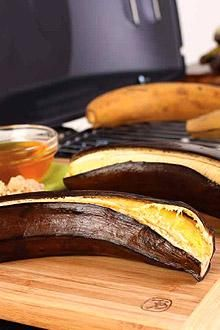 Get your end-of-summer grilling on with Ripe Grilled Plantains! The black peel on the outside means it's sweet on the inside.  Easy party appetizer!
