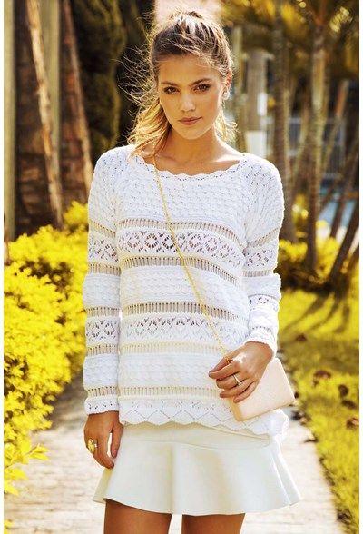 Blusa trico mullet rendada branca | Galeria Tricot Galeria