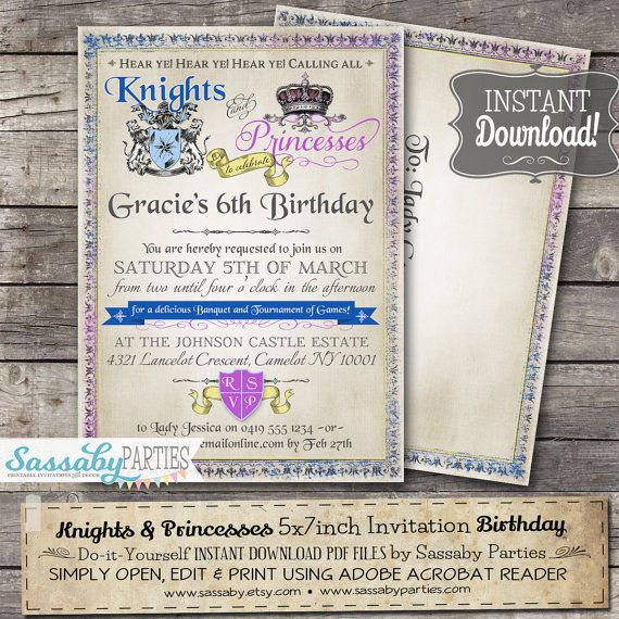 Knights And Princesses Invitation Instant Download Editable