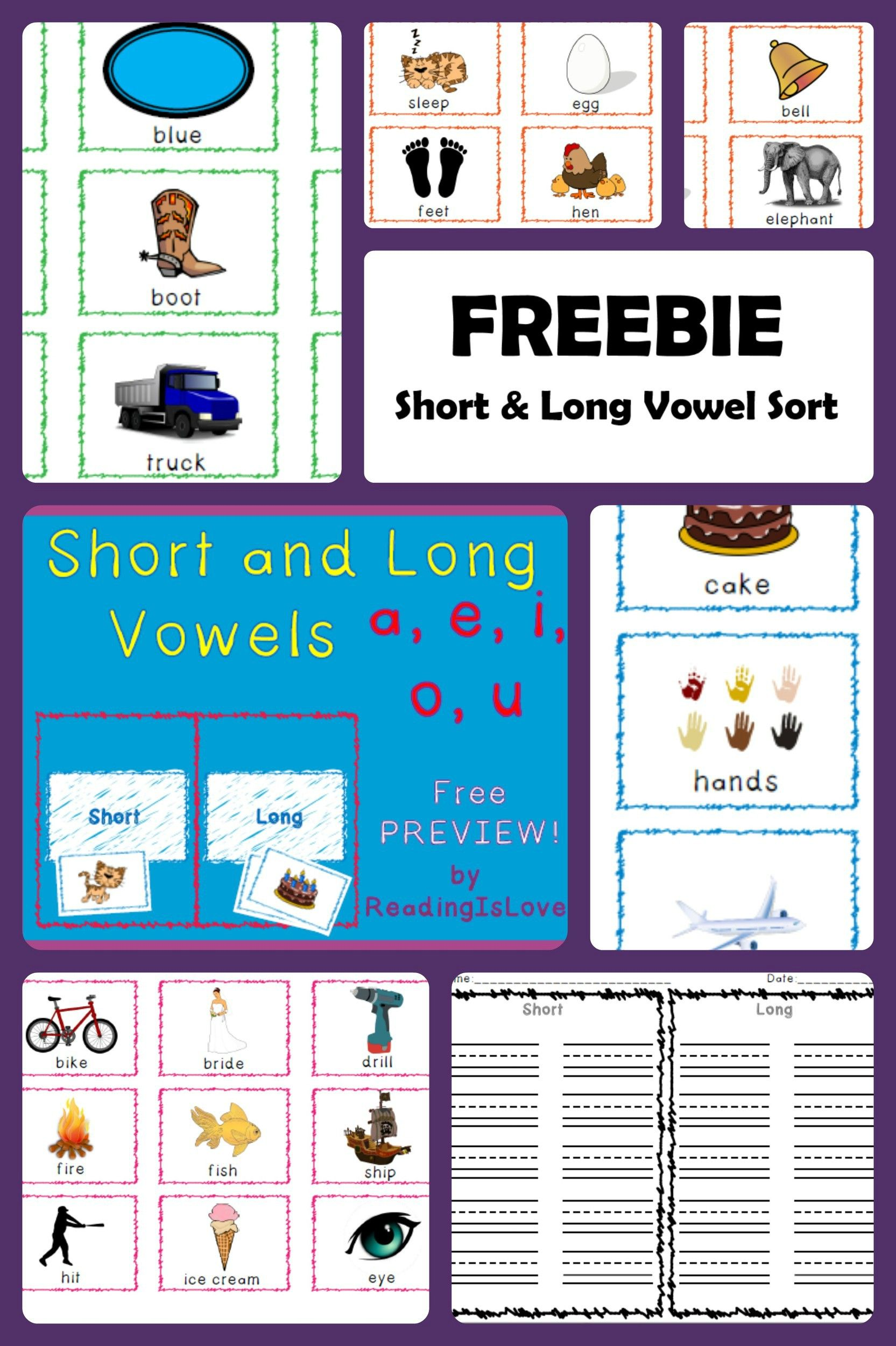 Freebie Preview Short And Long Vowel Sorting Activity