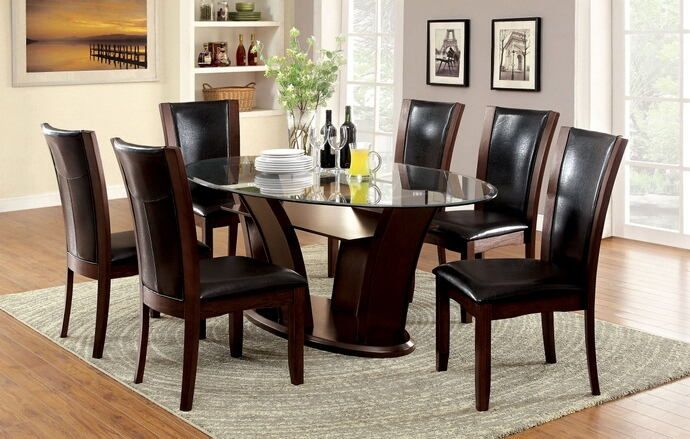Contemporary Style Dark Cherry Wood Finish And Oval Glass Top Dining Set This Includes The Table With 6 Side Chairs