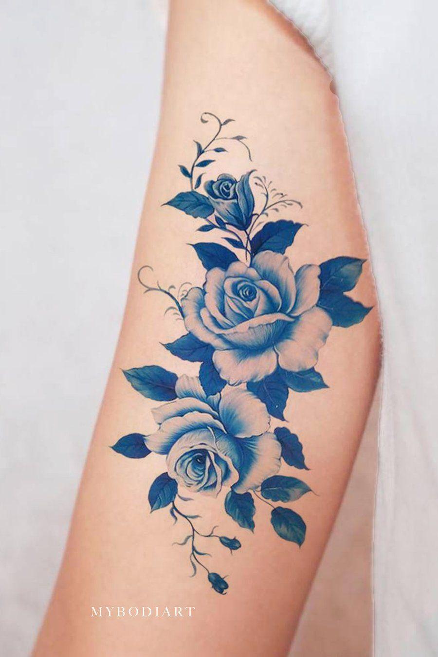 a044d508b Vintage Watercolor Blue Arm Temporary Tattoo Ideas for Women - Ideas de  tatuaje de brazo de acuarela azul para mujeres - www.MyBodiArt.com