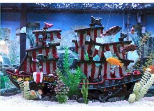 Animals Fish And Aquariums Pirate Ship Aquarium Ornament Large