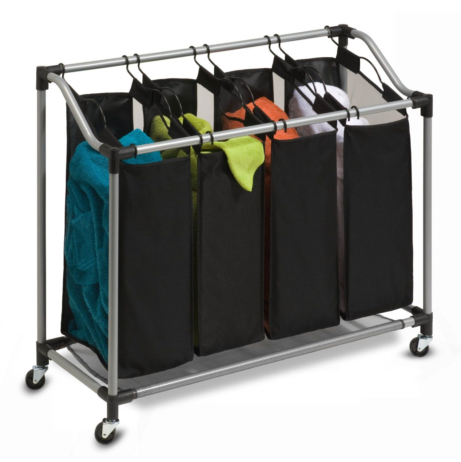 Honey Can Do Deluxe Quad Laundry Sorter With Polyester Bags 56