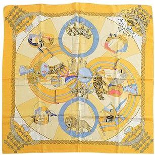 Hermès Rdc5698 Hermes Yellow Silk Twill Circus 90cm Scarf