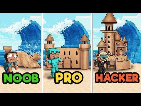 Minecraft - SAND CASTLE TSUNAMI CHALLENGE! (NOOB Vs PRO Vs HACKER