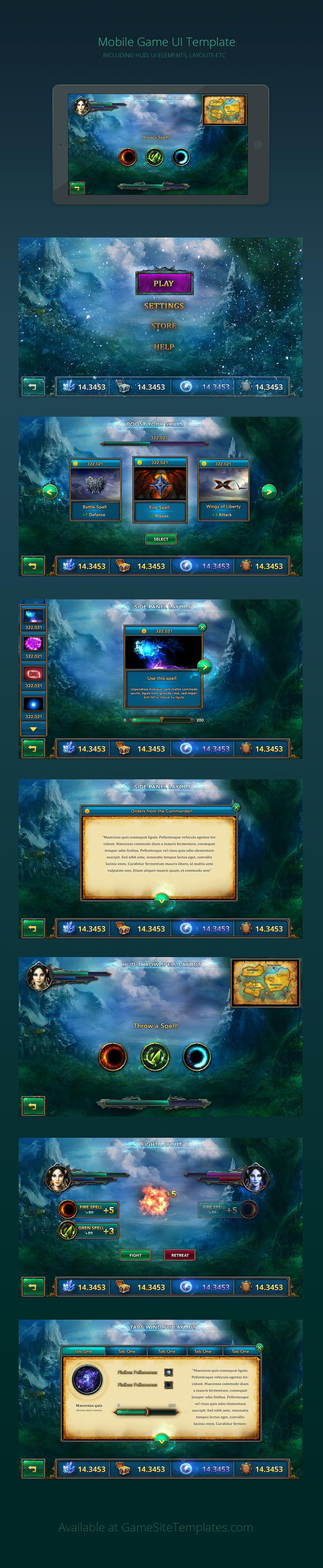 Mobile Game UI Design Templates | codes | Pinterest