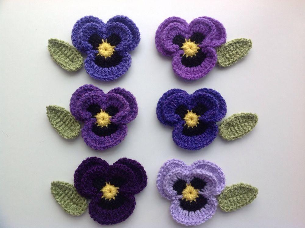 6 New Lovely Crochet Pansies Flowers+6 Leaves Applique Embellishment