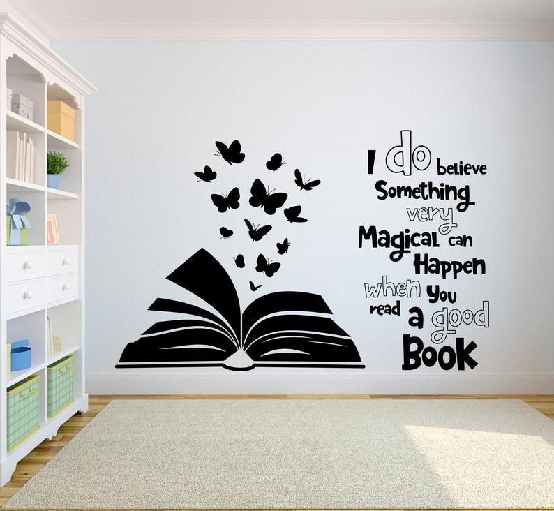 Book Quote Kids Wall Decal Books Quote Reading Room Library Etsy In 2020 Kids Wall Decals Wall Painting Decor Creative Wall Painting