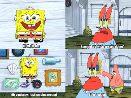 boo! haha classic  i love patrick | these | Spongebob, Funny