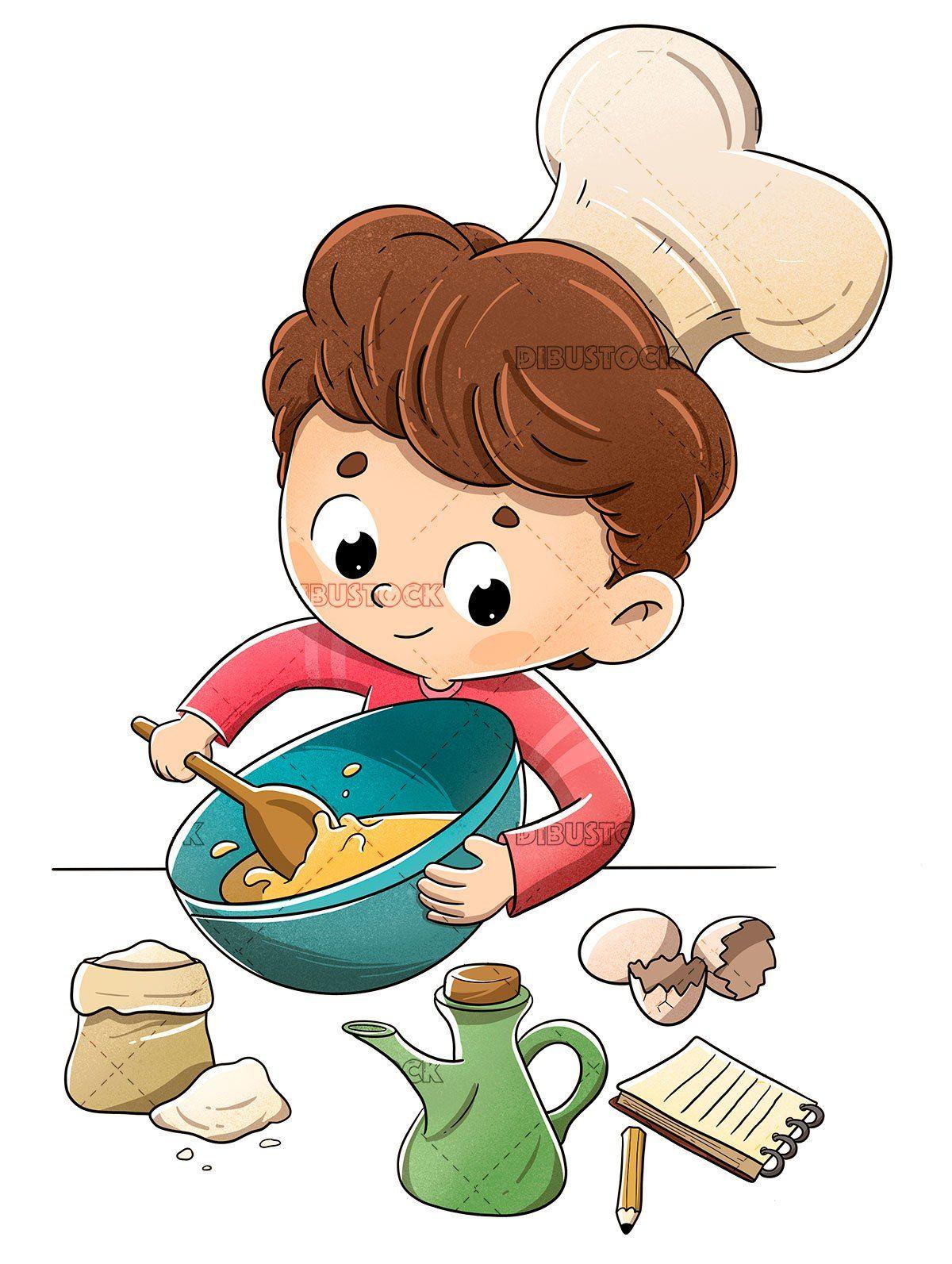 Cooking Cartoon Images : cooking, cartoon, images, Child, Kitchen, Preparing, Recipe, Imagenes, Niños, Felices,, Ilustraciones, Dibujos, Animados,, Dibujar, Caricaturas