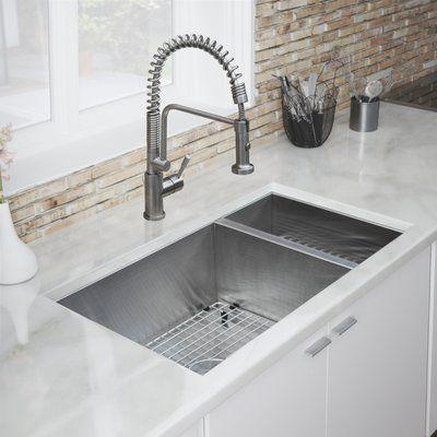 "Ticor Sinks Pacific Series 16-Gauge Stainless Steel 31"" L x 18"" W Double Basin Undermount Kitchen Sink | Wayfair"