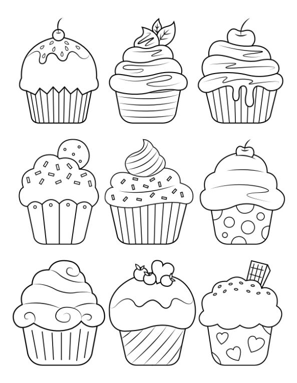 Printable Cupcake Coloring Page Coloring Printables In 2020 Cupcake Coloring Pages Free Printable Coloring Pages Cute Coloring Pages