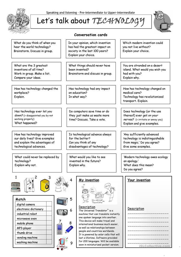 Let's talk about TECHNOLOGY worksheet - Free ESL printable