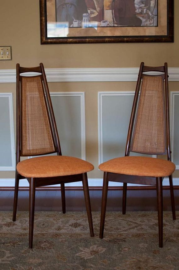 Attractive Mid Century Teak And Cane High Back Chairs.