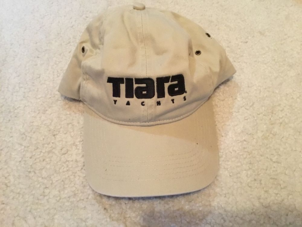 Tiara Yachts Boats Logo Tan Cotton Strap Strapback Mens Hat Near Mint   fashion  clothing  shoes  accessories  mensaccessories  hats (ebay link) 25f118c8e46f