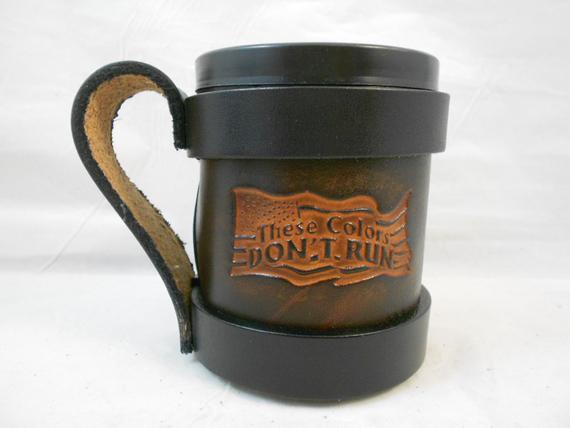 Hand Crafted Patriotic Leather Beer Hugger Insulated Beverage Holder Dont Tread On Me Usa Can Coo Drink Holder Beer Leather