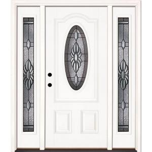 Feather River Doors 67 5 In X81 625 In Sapphire Patina 3 4 Oval Lt Unfinished Smooth Right Hand Fiberglass Prehung Front Door W Sidelites 1h3191 3b4 The Hom Front Doors With Windows Fiberglass Door Glass Front