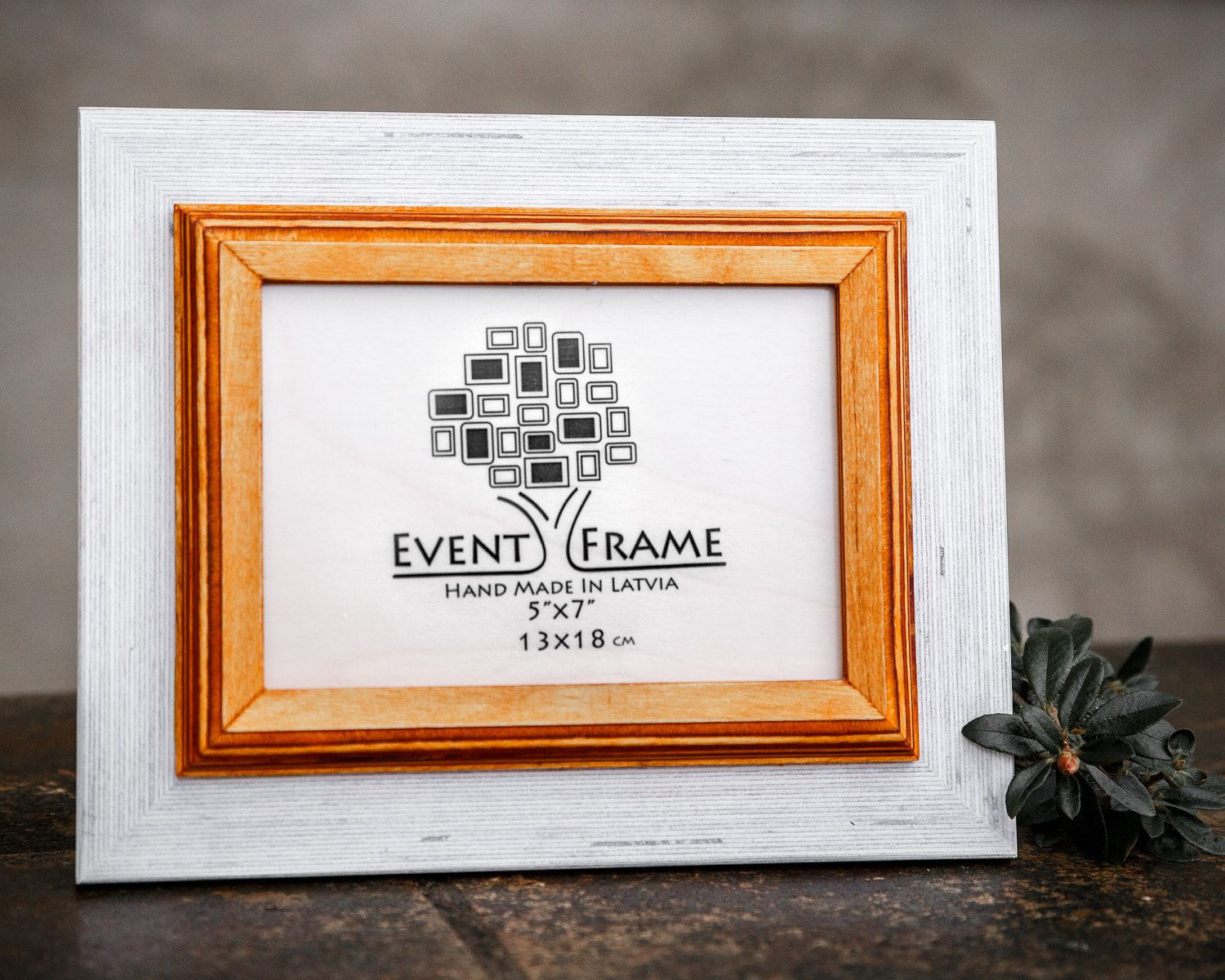 5x7 white - yellow picture frame. Double style rustic design, 100 ...